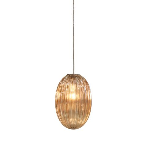Costolette Small - Champagne - Small Ribbed Glass Pod Pendant Light