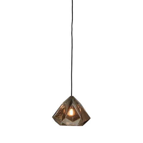 Graff - Smoke Grey - Small Faceted Glass Droplet Pendant Light