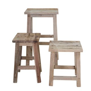 Wooden Rectangle Stool Set of 3