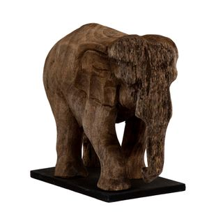 Wooden Elephant Trunk Down on Stand Small