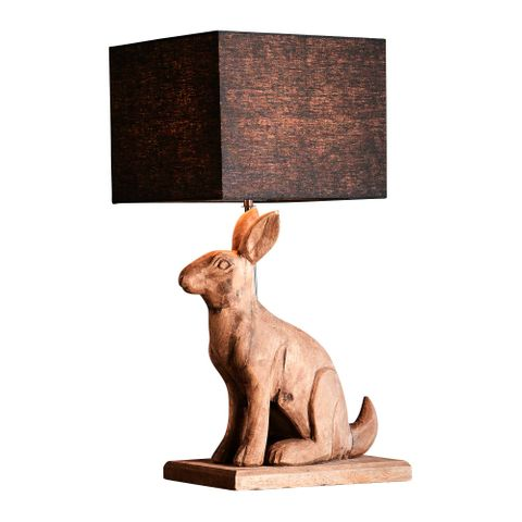 Garfunkel Base Only - Dark Natural - Large Wooden Rabbit Table Lamp Base Only