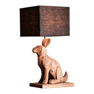 Garfunkel Base Only - Dark Natural - Large Wooden Rabbit Table Lamp Base Only