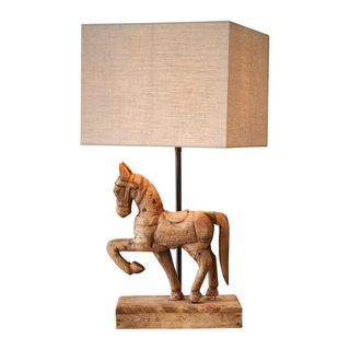 Bonnie Base Only - Dark Natural - Small Wooden Horse Table Lamp Base Only