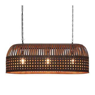 Esch Long - Rust - Woven Iron Strips Elongated Pendant Light