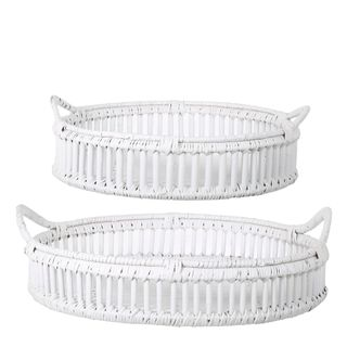 Trays Rattan Set of 2 Bahama White
