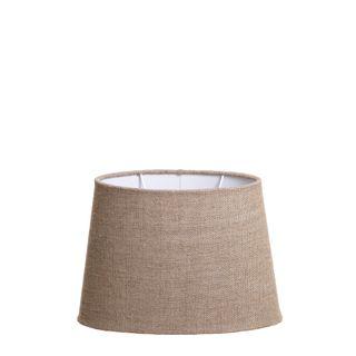 XS Oval Lamp Shade (10x7 x 8x5 x7 H) - Dark Natural Linen - Linen Lamp Shade with B22 Fixture