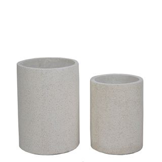 Venda Tall Cylinder Pot Set/2 White