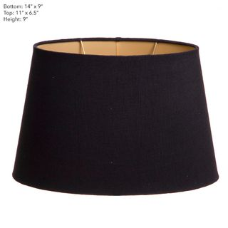 Oval Shade Black Linen with Gold Lining (14x9)x(11x6)x9