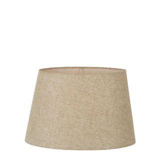 Medium Oval Lamp Shade (14x9 x 11x6 x9 H) - Dark Natural Linen - Linen Lamp Shade with B22 Fixture