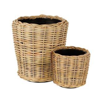 Round Rattan Basket Set of 2 Natural