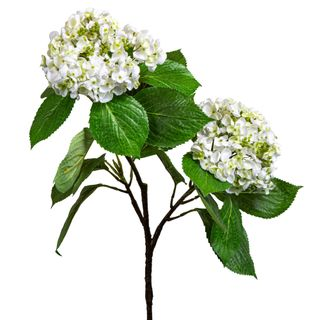 Hydrangea with Leaves 90cm White