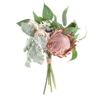 Protea Rose Dusty Miller Mix Bouquet 40cm Pink