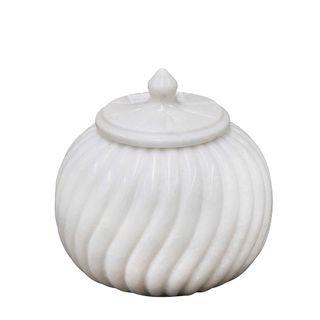 Marble Carved Jar Large White