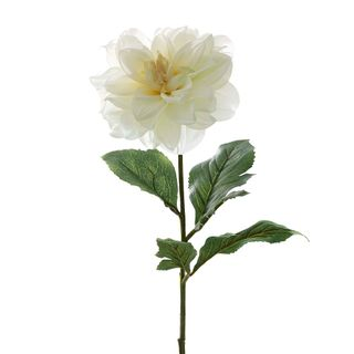 Dahlia With Leaves 75cm White