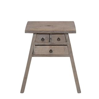Shanxi Elm 120 Year Antique Wooden Stool With Drawers No. 4