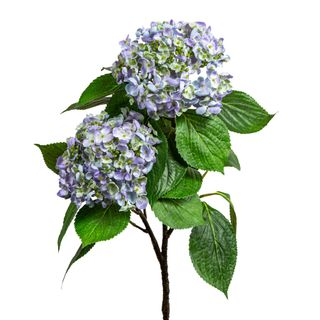 Hydrangea with Leaves 90cm Blue