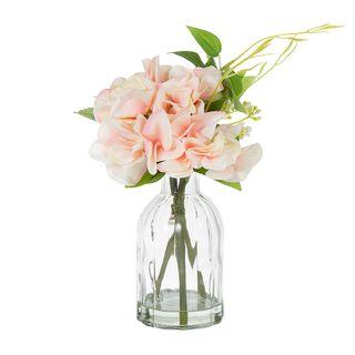 Hydrangea in Glass Vase Pink 23cm