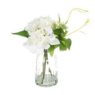 Hydrangea in Glass Vase 23cm White