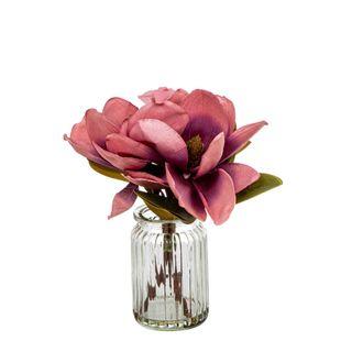 Magnolia in Glass Vase 30cm Plum