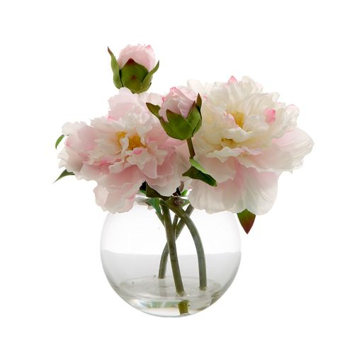 Peony in Water Bowl Lt Pink