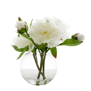 Peony in Water Bowl White