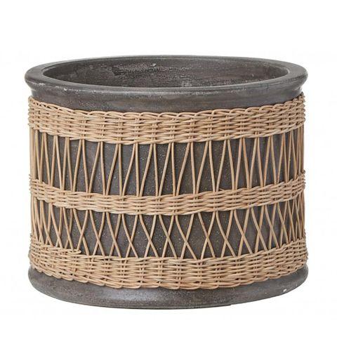 Verdure Pot with Rattan Weave Grey Large