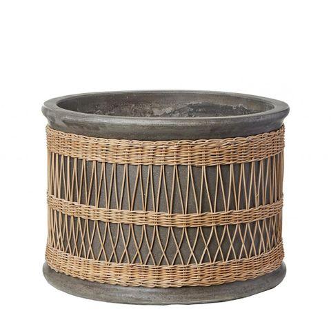 Verdure Pot with Rattan Weave Grey Small