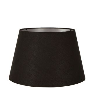 Large Taper Lamp Shade (16x11x10 H) - Black with Silver Lining - Linen Lamp Shade with E27 Fixture