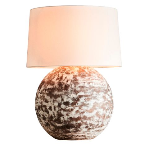 Boule Large Base Only - Distressed White - Turned Wood Ball Table Lamp Base Only