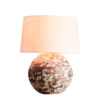 Boule Medium Base Only - Distressed White - Turned Wood Ball Table Lamp Base Only