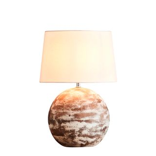 Boule Small Base Only - Distressed White - Turned Wood Ball Table Lamp Base Only