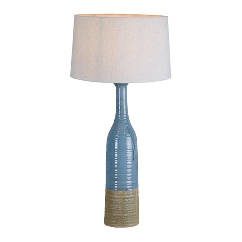 Potters Large - Blue/Brown - Tall Thin Glazed Ceramic Table Lamp