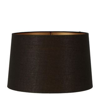 Linen Drum Lamp Shade XL Black with Gold Lining
