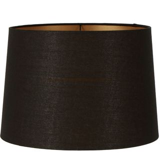 Linen Drum Lamp Shade XXXL Black with Gold Lining
