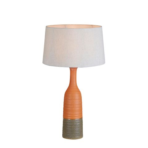 Potters Small - Orange/Brown - Tall Thin Glazed Ceramic Table Lamp