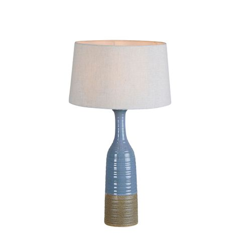 Potters Small - Blue/Brown - Tall Thin Glazed Ceramic Table Lamp