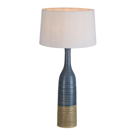 Potters Large - Grey/Brown - Tall Thin Glazed Ceramic Table Lamp