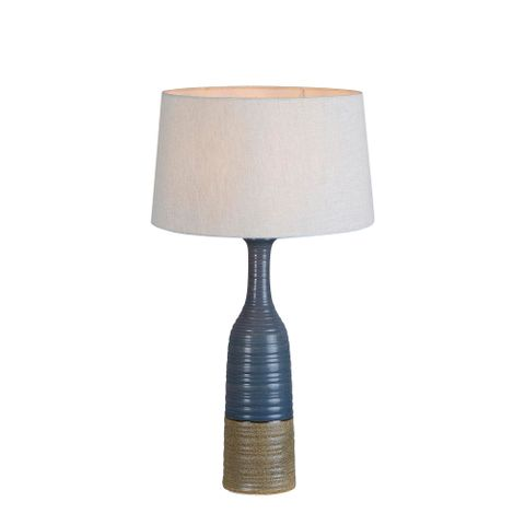 Potters Small - Grey/Brown - Tall Thin Glazed Ceramic Table Lamp