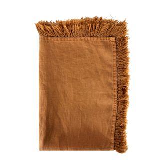 Linen Tassel Table Runner Camel