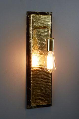 Felix - Hammered Rectangular Wall Light  - Gold