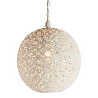 Callisto - White - Large Perforated Round Pendant Light
