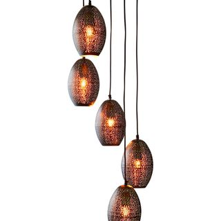 Constellation - Black - Perforated 5 Balloon Pendant Light Cluster
