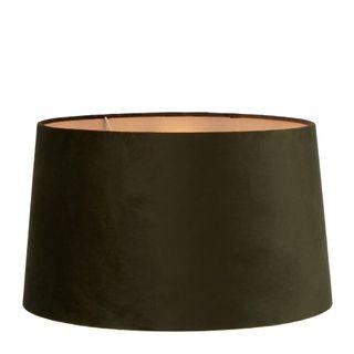 Velvet Drum Lamp Shade XL Olive Green