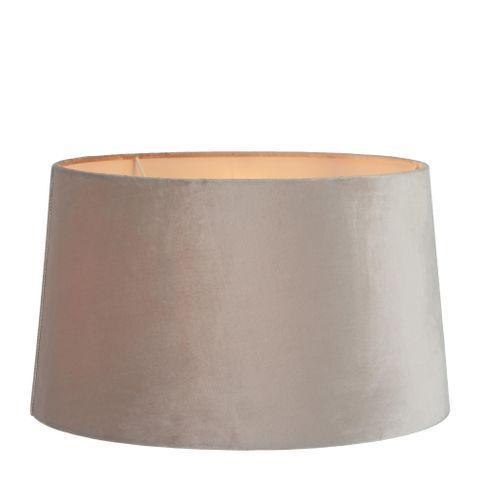 XL Drum Lamp Shade (18x16x10.5 H) - Mist Grey - Velvet Lamp Shade with E27 Fixture