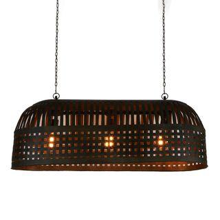 Esch Long - Antique Black - Woven Iron Strips Elongated Pendant Light