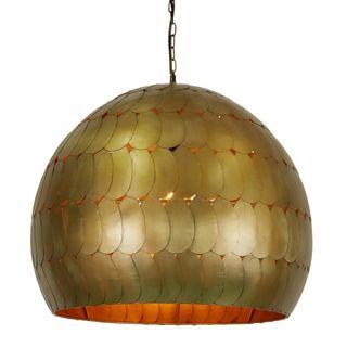 Pangolin Large - Antique Brass - Iron Scales Dome Pendant Light