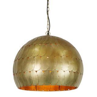 Pangolin Medium - Antique Brass - Iron Scales Dome Pendant Light