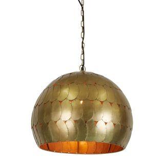 Pangolin Small - Antique Brass - Iron Scales Dome Pendant Light