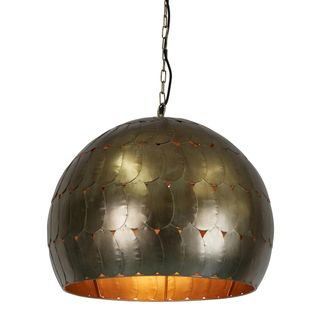 Pangolin Medium - Pewter - Iron Scales Dome Pendant Light