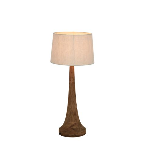 Lancia Small Base Only - Dark Natural - Turned Wood Slender Table Lamp Base Only